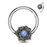 1pc Opal Glitter Centered Flower Surgical Steel Captive Bead Ring