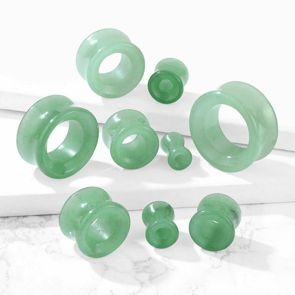 PAIR Green Adventurine Organic Stone Tunnels Double Flare Plugs Earlets Gauges