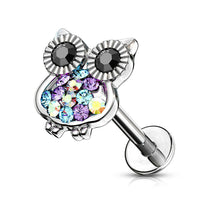 1pc Multi Color Gemmed Owl Labret 16g Internally Threaded Steel Helix Tragus