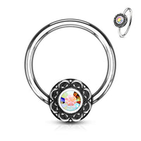 1pc Crystal Centered Filigree Surgical Steel Captive Bead Ring