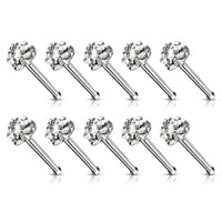 10pcs Prong Set Clear Heart Gem Nose Ring Studs 18g 20g Wholesale Body Jewelry