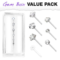 7pc Box Value Pack CZ Gem Shapes 20g Steel Nose Stud Bone Rings, w/ Retainer