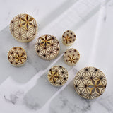 PAIR Flower of Life Cut Out Blonde Crocodile Wood Saddle Plugs