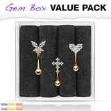 3pc Box Value Pack Steel Eyebrow Rings Curved Barbells Butterfly, Cross, Heart