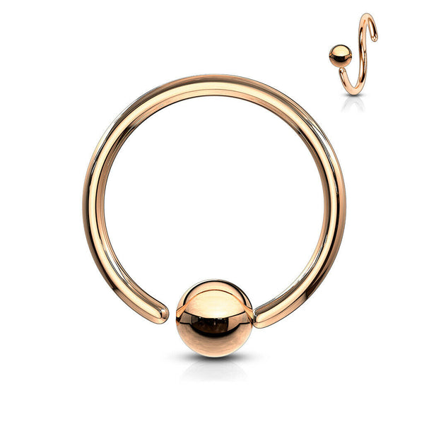 PAIR Fixed Ball Rose Gold Captive Bead Rings Nipple Helix Tragus Septum Piercing