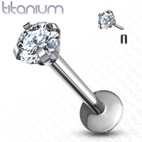 1pc Internally Threaded Solid Titanium Round Gem 16g Labret Monroe Stud Lip Ring