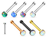 1pc Opal Set Nose Stud Bone Ring 316L Surgical Steel