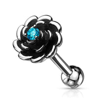 1pc Antique Silver Flower Helix Tragus Cartilage Bar Stud Earring CZ Gem Center