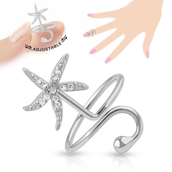 Starfish Multi-Paved CZ Gems Adjustable Nail Ring / Toe Ring