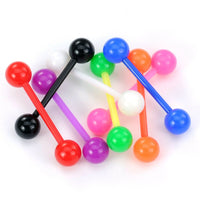 PAIR Flexible Barbell Nipple or Tongue Rings PTFE Vibrant Solid Color NO METAL