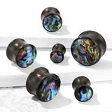 PAIR Abalone Shell Inlaid Sono Wood Saddle Plugs Organic Gauges Earlets