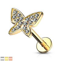 1pc Gem Paved Butterfly Labret 16g Internally Threaded Helix Tragus Cartilage