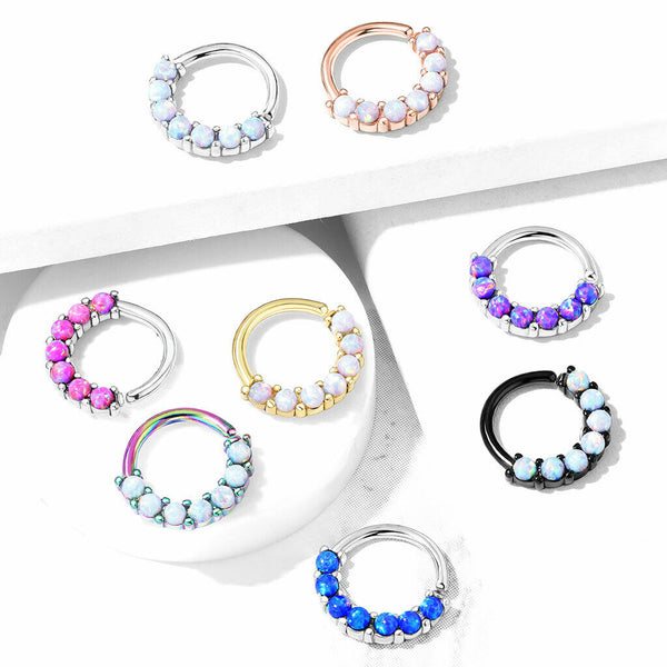 1pc Bendable 7 Opals Front Facing Hoop Septum Ring Cartilage Daith Helix Tragus