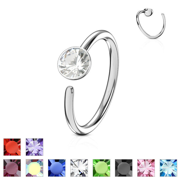 1pc Bendable CZ Gem Nose Hoop / Cartilage Ring Annealed 316L Surgical Steel
