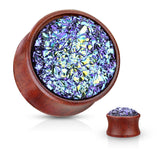 PAIR Rough Blue Druzy Stone Sono Wood Plugs