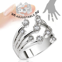 Fountain of Multi-Paved CZ Gems Adjustable Mid Ring / Toe Ring