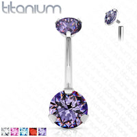 Solid Implant Grade Titanium Gem Belly Ring 14g Internally Threaded Navel Naval