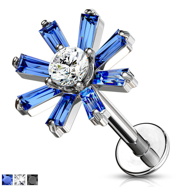 1pc Baguette Crystal Petals Labret 16g Internally Threaded Steel Helix Tragus