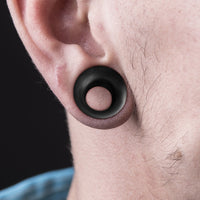 PAIR Concave Organic Black Areng Wood Double Flare Tunnels