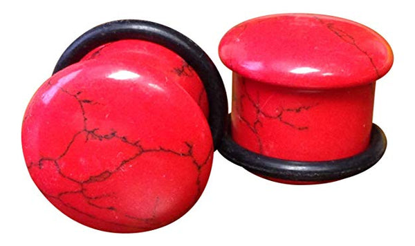 Stone Plugs Single Flare Red Turquoise - by the pair
