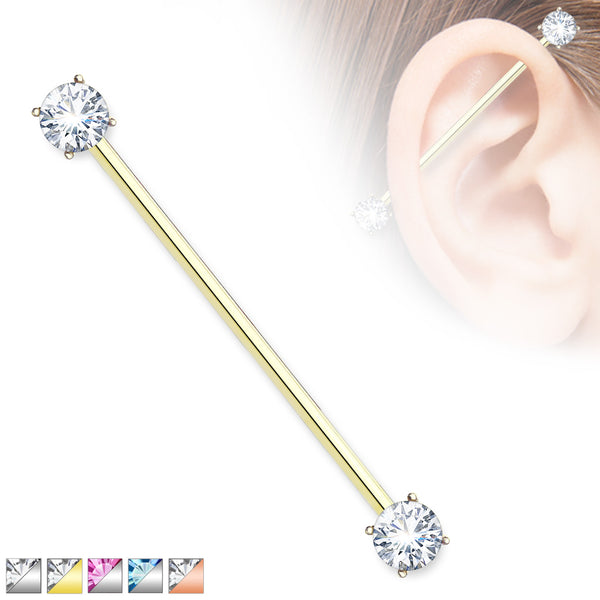 1pc Prong Set Double Gems Industrial Barbell