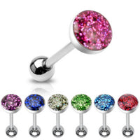 7pcs Phosphor Glitter Epoxy Dome Tongue Rings