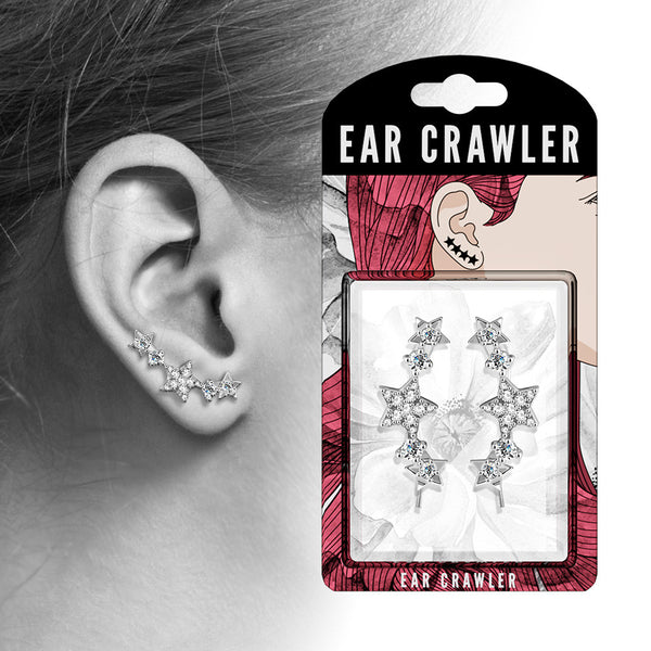 Ear Crawler Earrings Retail Peg Pack - CZ Paved Stars
