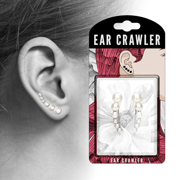Ear Crawler Earrings Retail Peg Pack - Lined White Pearls