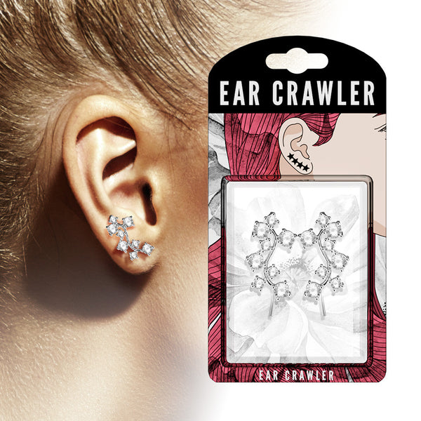 Ear Crawler Earrings Retail Peg Pack - CZ Cluster Vine
