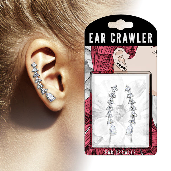 Ear Crawler Earrings Retail Peg Pack - CZ Paved Triangles
