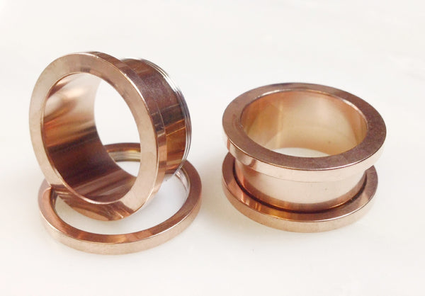 Screw Fit Flesh Rose Gold Tunnels - PAIR