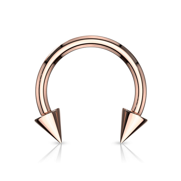 1pc Rose Gold Spiked Circular Barbell Horseshoe Septum Nipple Eyebrow Ring Spike