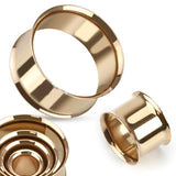 "Rose Gold Plated Steel Double Flare Tunnels - PAIR 8g thru 1"" available"