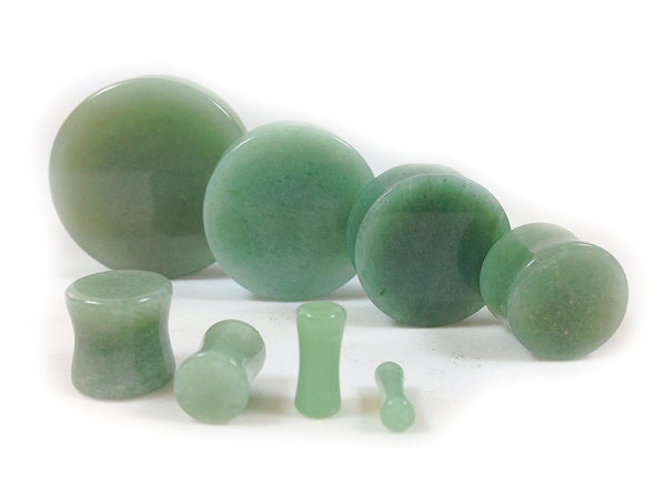Stone Plugs Green Jade Adventurine - by the pair