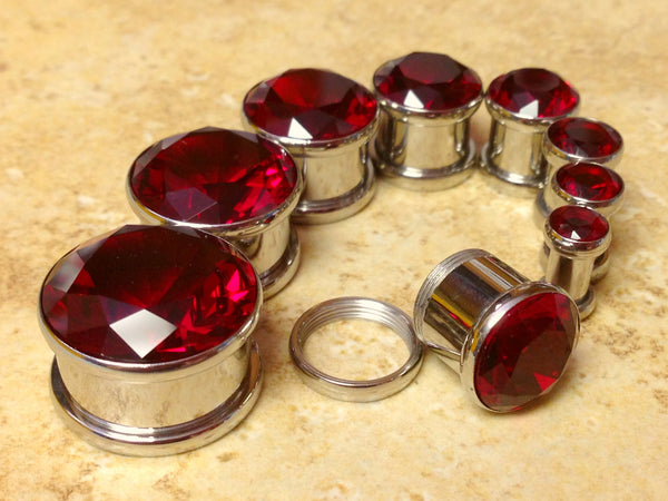 Large Red CZ Gem Plugs - PAIR