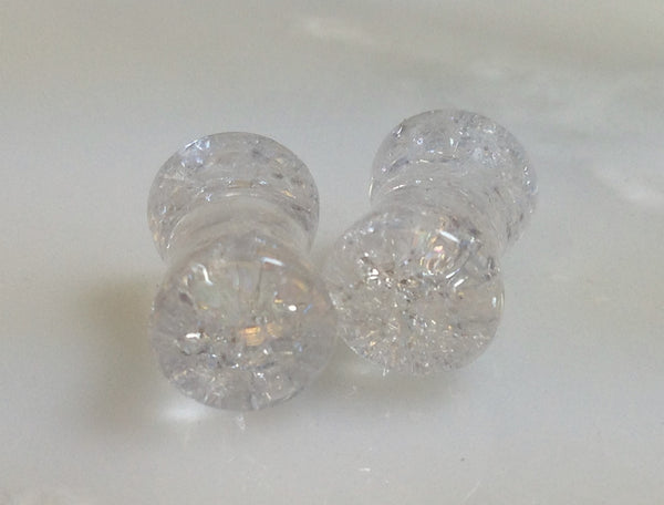 PAIR Cracked Clear Glass Double Flare Plugs