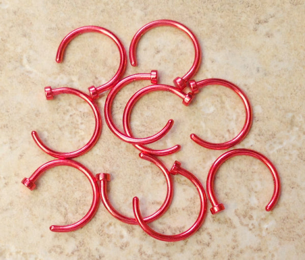 10pcs 316L Surgical Steel Nose Hoops Red Plated