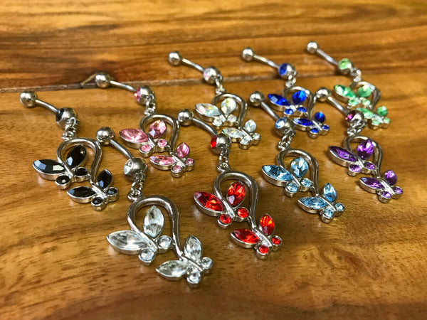 9pcs Gemmed Double Butterfly Dangle 14g Belly Rings