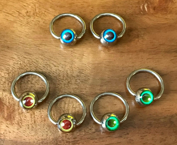 "10pcs Eyeball Captive Bead Rings 16g 3/8"" CBR's"