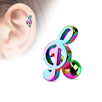 1pc Music Treble Clef Tragus Ring 16g 1/4""