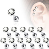 10pcs Clear Gem Stud Tragus Rings 16g Barbells