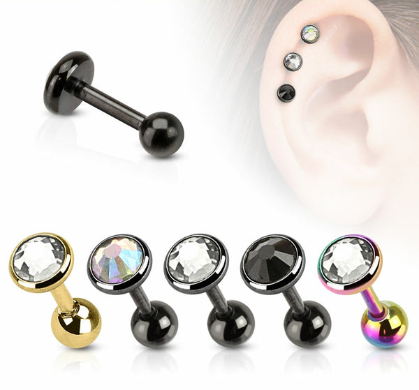 5pcs Ion Plated Stud Gem Tragus Rings 16g Barbells