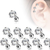10pcs Clear Prong Set Gem Stud Tragus Rings 16g Barbells