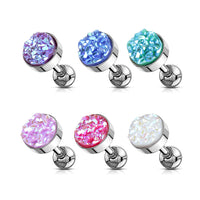 1pc Druzy Stone Flat Top Surgical Tragus Ring 16g 1/4""