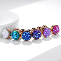 1pc Druzy Stone Flat Top Rose Gold Tragus Ring 16g 1/4""