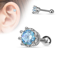 1pc Eight Prong CZ Gem Surgical Steel Helix Tragus Cartilage Bar Stud Earring