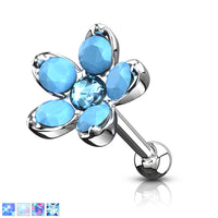 1pc Opalite & Opal Flower Surgical Steel Tragus Cartilage Barbell Ring