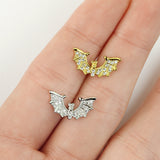 1pc CZ Gem Paved Bat Wings Surgical Steel Tragus Cartilage Barbell Ring