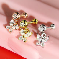 1pc CZ Gem Butterfly Dangle Surgical Steel Tragus Cartilage Barbell Ring