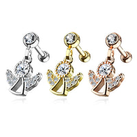 1pc CZ Gem Angel Dangle Surgical Steel Tragus Cartilage Barbell Ring